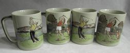 OTAGIRI GOLF Swing MUGS SET 4 CUPS VTG Colorful Men and Wome