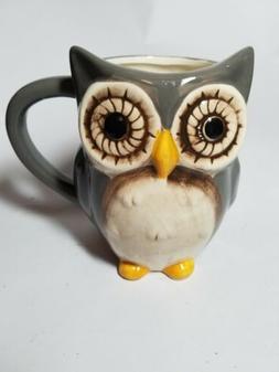 Great Gatherings Gray OWL ceramic  Coffee Mug Decor Cup Owls