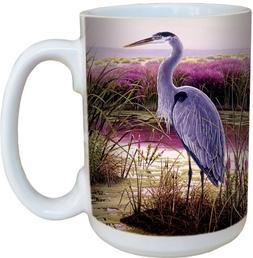 Great Blue Heron Coffee Mug - Large 15-Ounce Ceramic Cup, Fu