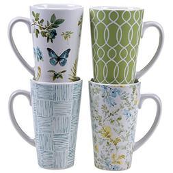 Certified International The Greenhouse Latte Mugs , 16 oz, M