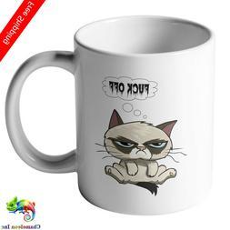 With grumpy cat saying motif on both sides  coffee mug gifts