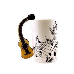 2019 Guitar Handle Music Note Pattern Coffee Mug Porcelain C