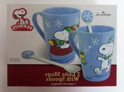 Hallmark Peanuts Christmas Set of 2 Latte Mugs with Spoons