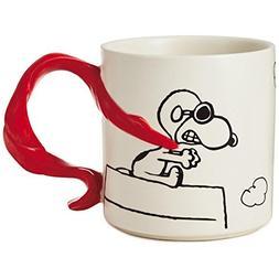 Hallmark Peanuts Snoopy Flying Ace With Scarf Handle Mug, 12