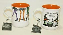 Cobwebs & Cauldrons Halloween 18 Oz. Coffee Mugs Set of Two