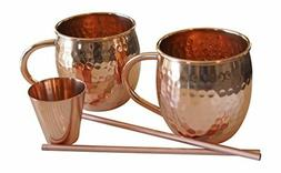 Hammered Moscow Mule Barware Glassware Drinkware Gift Set -