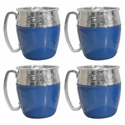 Hammered Moscow Mule Mugs 4-PC Set 21 oz Blue & Silver Stain