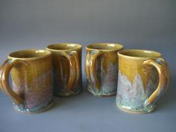 Hand thrown stoneware pottery mugs set of 4