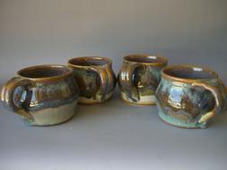 Hand thrown stoneware pottery mugs set of 4