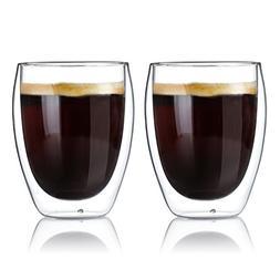 Sweese 4604 Glass Coffee Mugs - 12 Ounces, Double Wall Insul