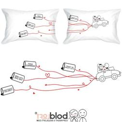 BOLDLOFT Happily Ever After Bride and Groom Pillowcases-Wedd