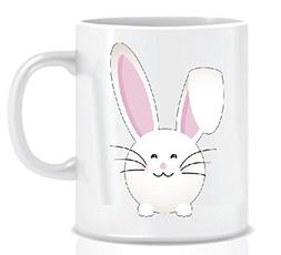 Happy Easter Folded Pink Ear Bunny - Coffee Mug in Blue Ribb