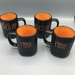 RAE DUNN HAPPY HALLOWEEN Double Sided LL Black Mug W/ Orange