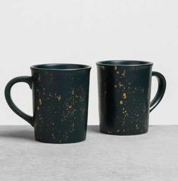 Hearth & Hand Large Blue Gold Speckled Stoneware Mugs  Set o