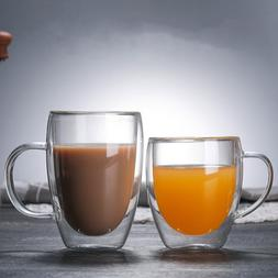 Heat Resistant Double Wall Glass Coffee/Tea Cups And <font><