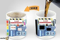 Heat Sensitive Morphing Mug   Risk Of Awesomeness Mug   Colo