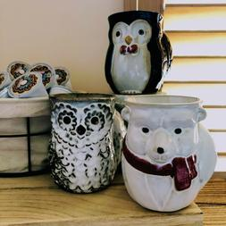 Holiday Character Hand Warmer Mugs  | Cardinal | Penguin | S