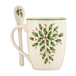 Lenox Holiday Cocoa Mugs with Spoons, Ivory, Set of 2