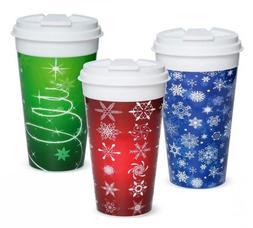 Easy Traveler Holiday Collection Insulated Travel Mug, 16 Oz