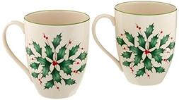 Lenox Holly Mugs, Set of 2