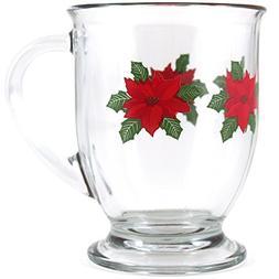 Anchor Hocking Holiday Poinsettia Cafe Mug, Set of 6