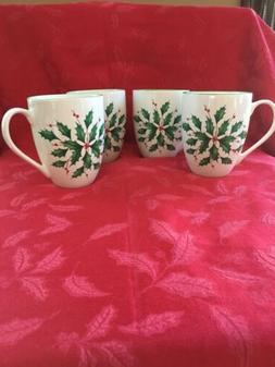 🌸 Lenox Holiday set of 4 Mugs  Holly & Berry 14oz - 4 1/2