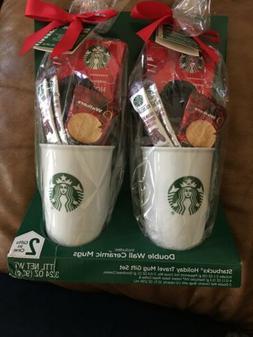 Starbucks Holiday Travel Mug Gift Set 2 double wall ceramic