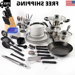 Home Kitchen In A Box 83-Piece Combo Set Black Cookware Set