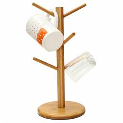 Home Kitchen Wooden Mug Coffee Cups Drying Storage Rack Hold