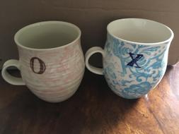 Anthropologie Homegrown Monogram 2 Mugs Coffee Tea Floral Cu