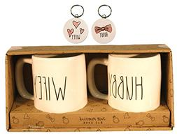 Rae Dunn HUBBY and WIFEY Mugs Coffee Cup Gift Set with Coord