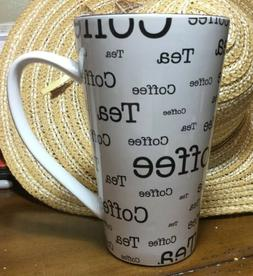 HUGE Coffee Tea Mug Black White NEW By 10 Strawberry Street/