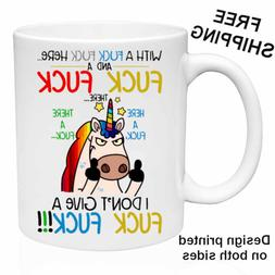 I Don't Give A F&ck F&ck, Funny Unicorn, Mug 11oz Coffee/Tea