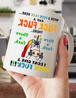 I Don't Give A Fvck Fvck Funny Unicorn 11oz Coffee Tea Cup