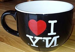 I Love NY Oversize Jumbo Black Soup Coffee Mug Cup