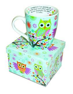 Divinity Boutique 20606 Inspirational Ceramic Mug-Owls on Tr