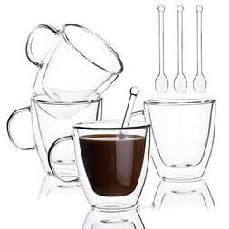 Insulated Coffee Cups Set Double Walled Glasses Coffee Mugs