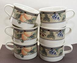Set of 6 Mikasa Intaglio CAC29 Garden Harvest Cream Flat Bot