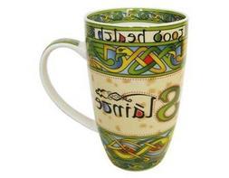 Irish Slainte Good Health Tea Coffee Mug Celtic Weave Bone C