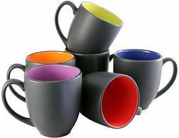 ITI Ceramic Bistro Hilo Coffee Mugs with Pan Scraper, 14 Oun