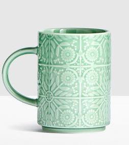 Starbucks Jade Green Floral Handle Mug 12 Oz