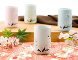 Japanese Tea Cups Quality Ceramic Set of 4 Cherry Blossom Sa