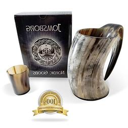 Jomsborg 20 oz Viking Drinking Horn Ale Tankard With Free Ho