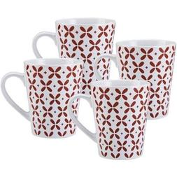 Pfaltzgraff 27 Oz Jumbo Red Petals Coffee Mug, Set of 4