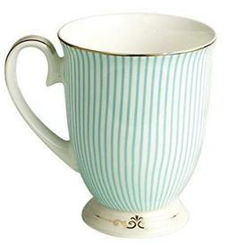 Jusalpha Royal Fine Bone China Light Blue Stripe Coffee Mug/