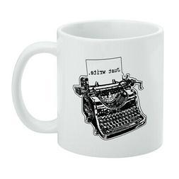 Just Write Antique Typewriter Writer Author White Mug