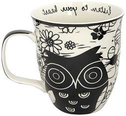 Karma Gifts Boho Black and White Mug, Owl