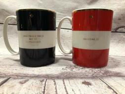 "Kate Spade Mugs Set of 2 ""Simply Sparkling"" Lennox 12oz Red"