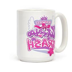 Kawaii Weeaboo Trash Anime Logo 15 OZ Coffee Mug by LookHUMA