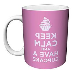 Keep Calm and Eat a Cupcake Pink Novelty Food Humor Quote Ce